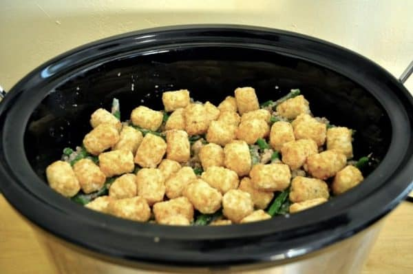 Picture of Crock Pot Tater Tot Casserole before baking