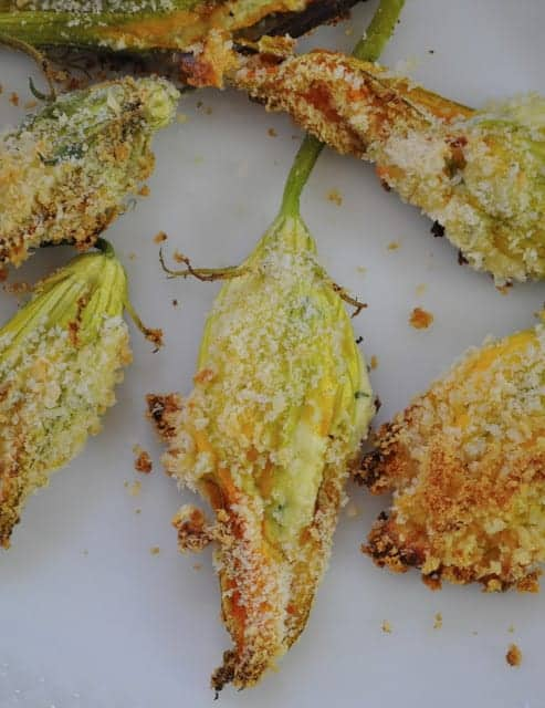Light Baked Stuffed Squash Blossoms
