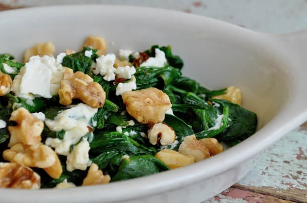 Creamed Spinach with Feta and Walnuts2