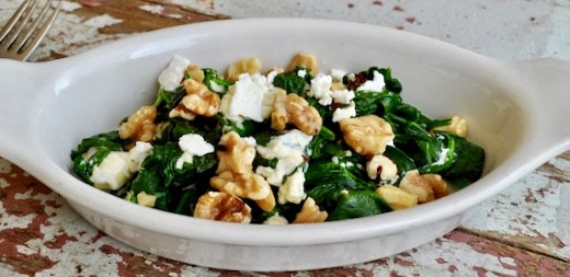 Dish with Creamed Spinach with Feta and Walnuts