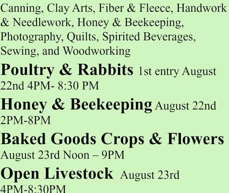 Alaska State Fair Exhibit Entry Dates 2017