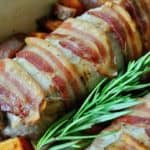 Bacon Wrapped Pork Tenderloin with Roasted Sweet Potatoes