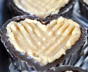 close up of a Chocolate Heart Boxes with Peanut Butter Filling