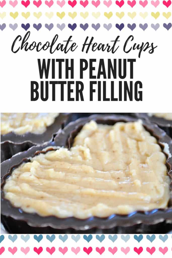 pin for Chocolate Heart Cups with Peanut Butter Filling