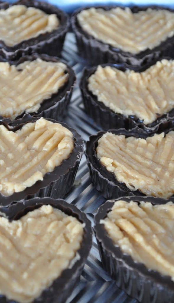 Chocolate Heart Cups with Peanut Butter Filling