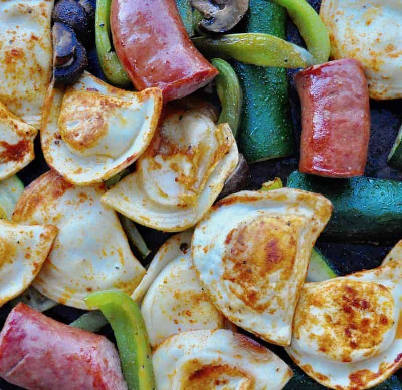 Kielbasa Pierogies Sheet Pan Dinner