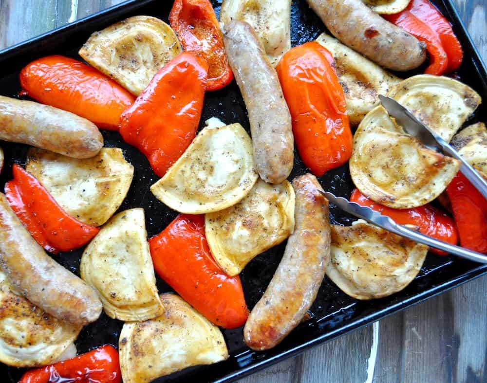 Italian Sausage Pierogies Sheet Pan Dinner