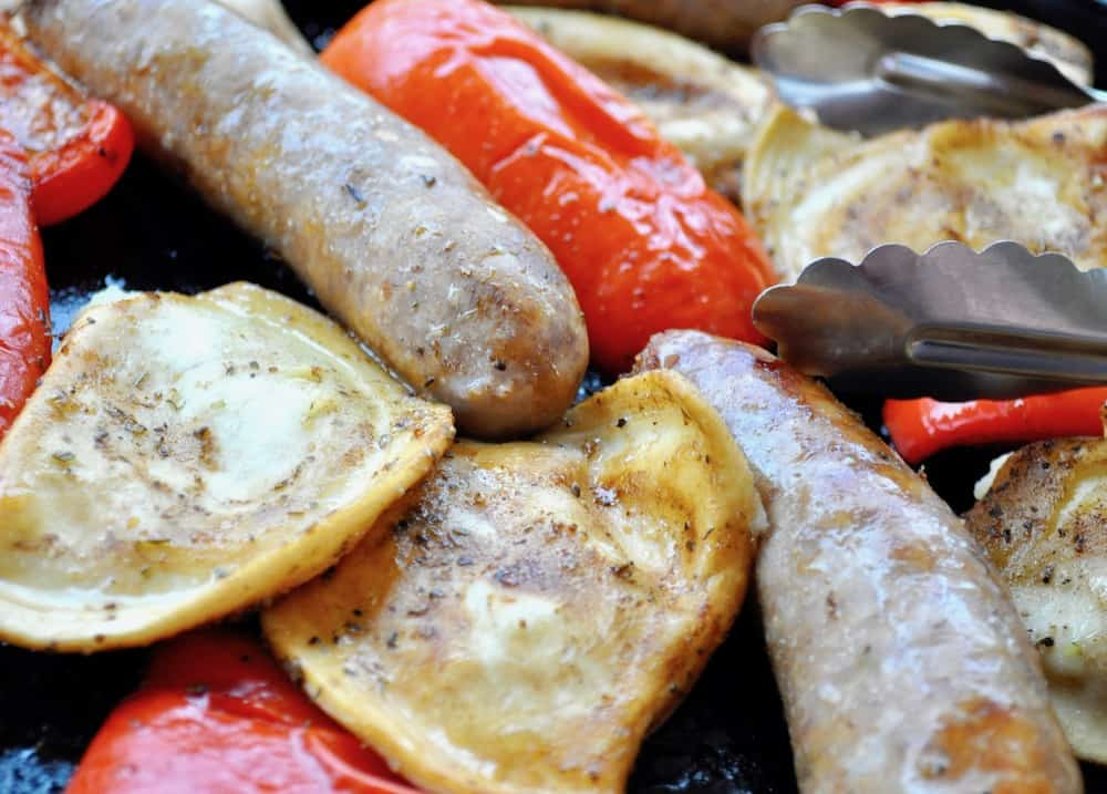 Italian Sausage Pierogies Sheet Pan Dinner