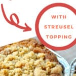 pin image for Rhubarb Quick Bread with Streusel topping