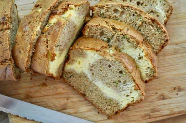 Zucchini Bread with a Cheesecake Swirl