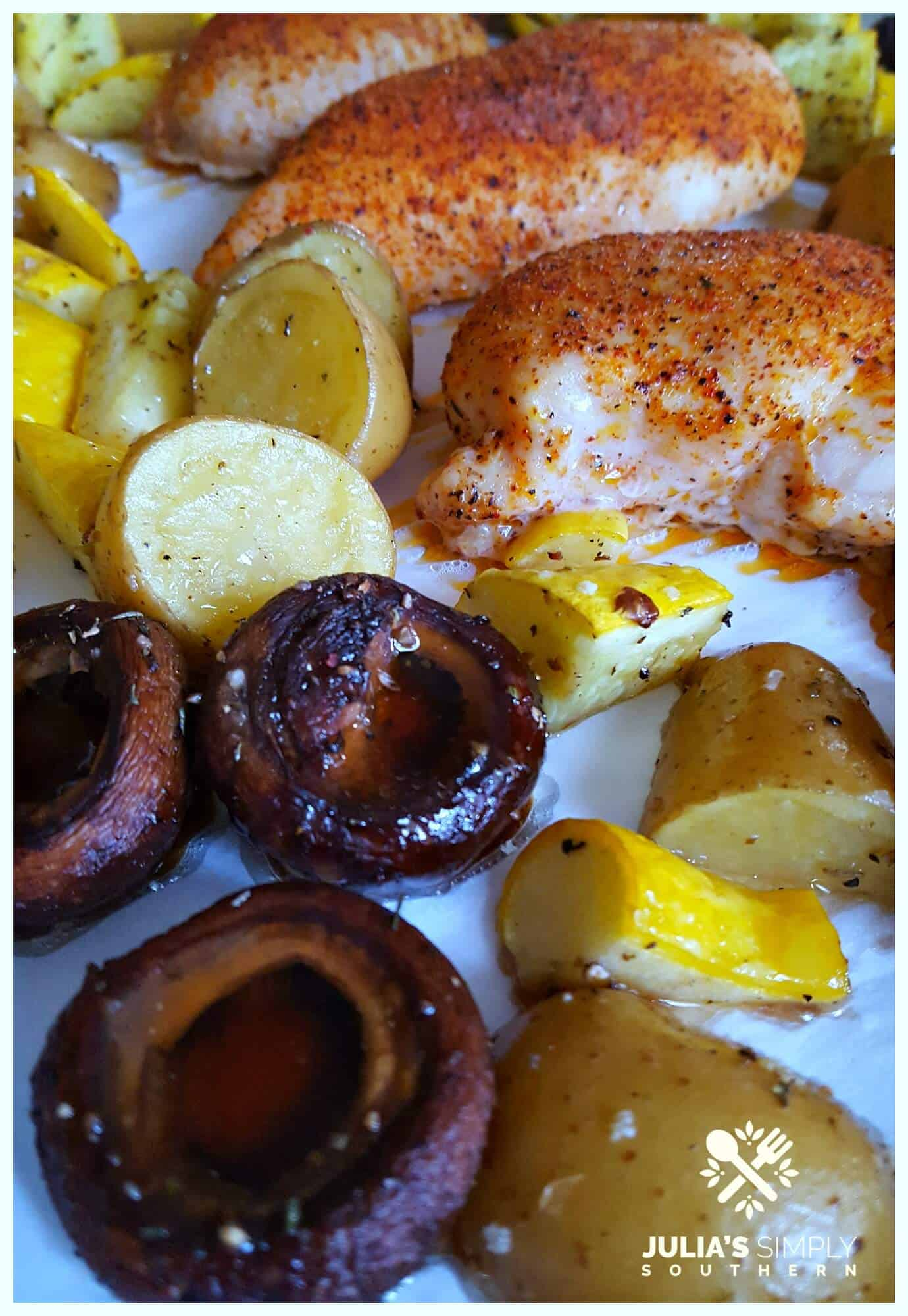 Creole-Chicken-with-roasted-mushrooms-yellow-squash-potatoes-sheet-pan-meal-Julias-Simply-Southern