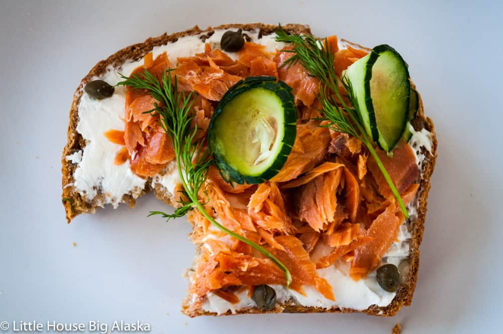 perfect Smørrebrød with salmon cream cheese dil capers and cucumbers!