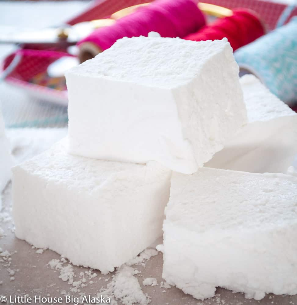 a close up of Homemade Marshmallows