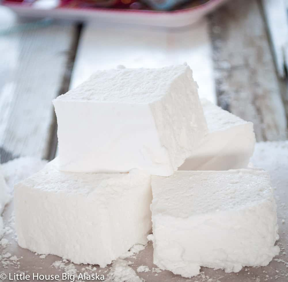 Stacked homemade marshmallows
