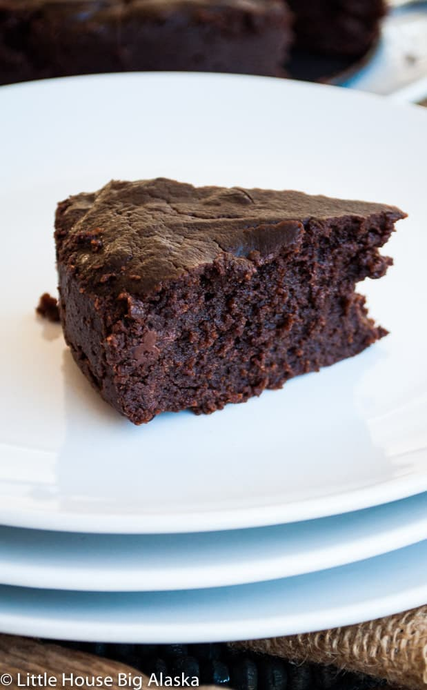 a slice of fresh instant pot brownies