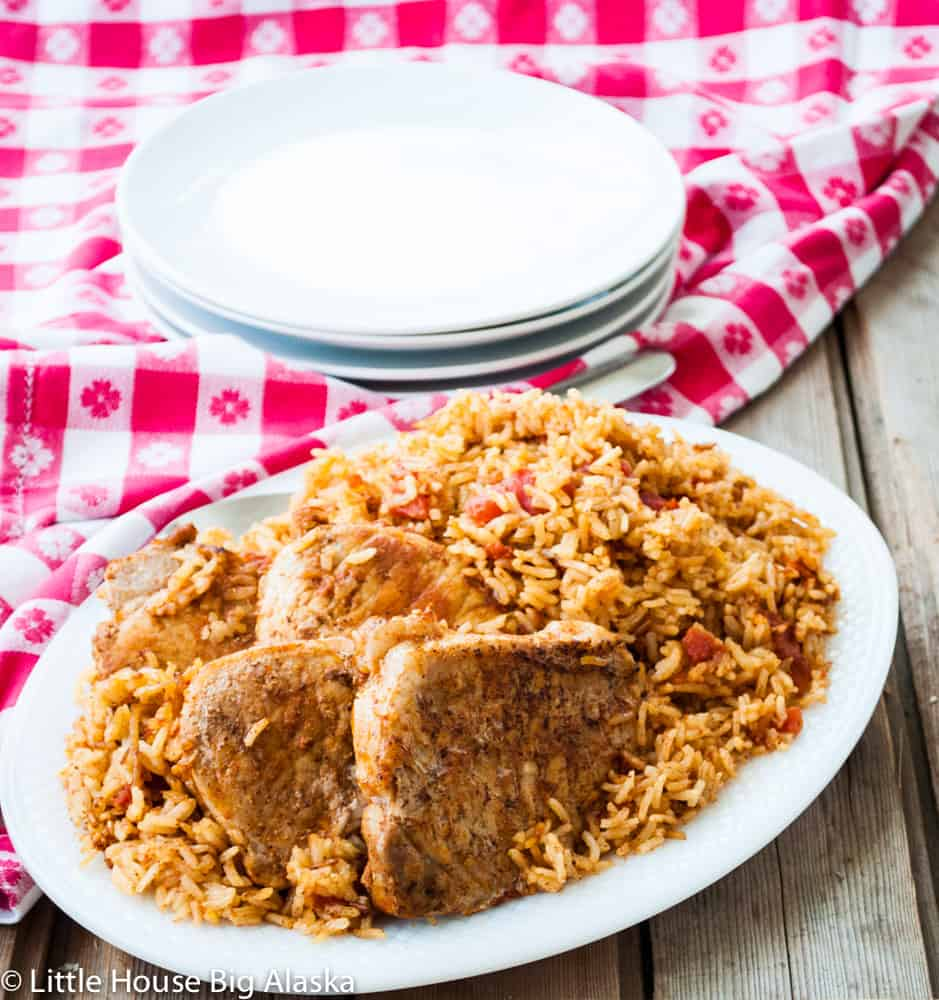 clear photo of Instant Pot Spanish Rice with Pork Chops