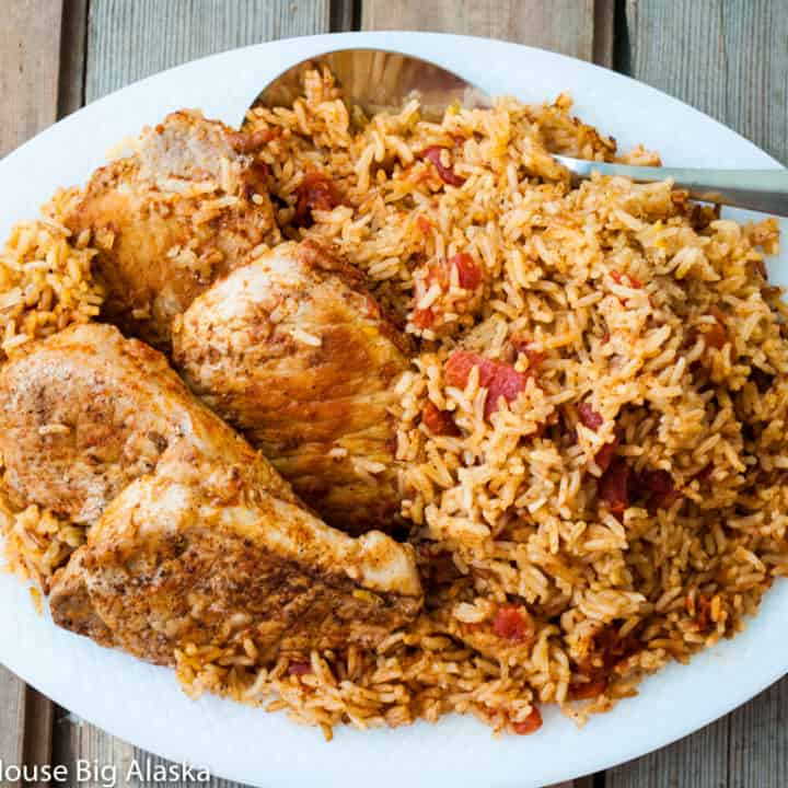 overhead view of Instant Pot Spanish Rice with Pork Chops