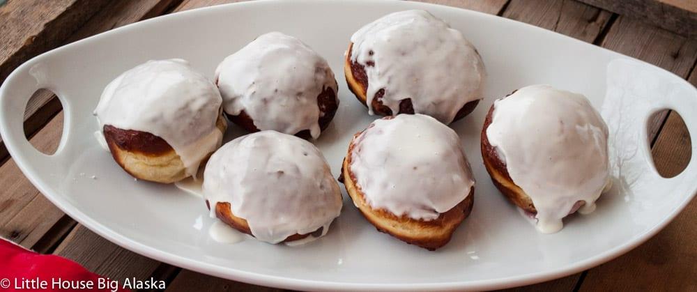 Homemade Lemon Doughnuts with Raspberry Cream