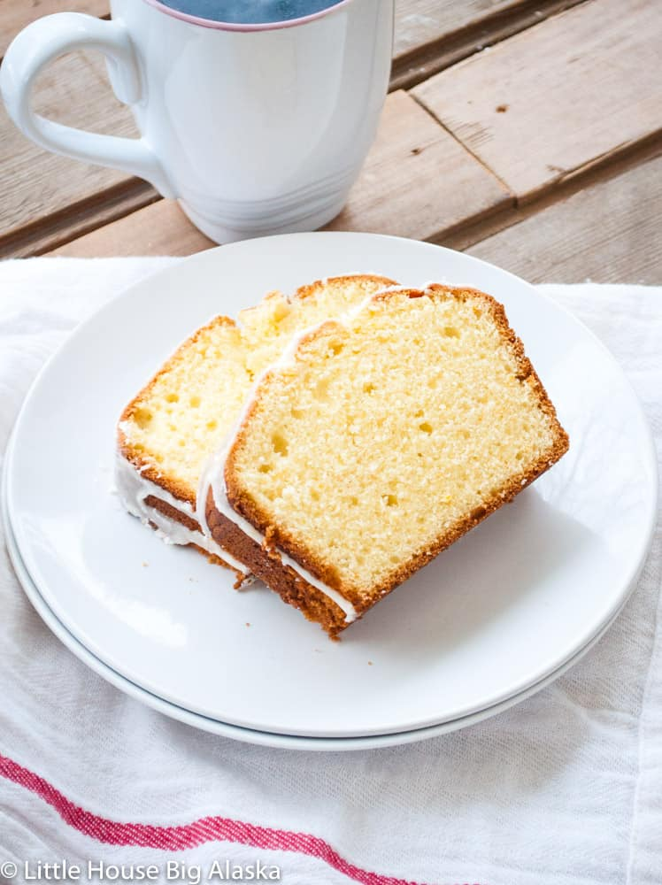 Two slices of Orange Pound Cake with Orange Flavored Icing
