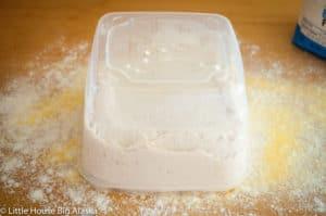 ciabatta dough in tub