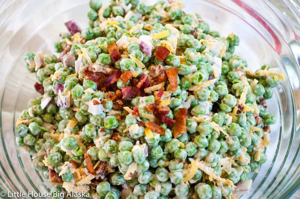 close up of Pea Salad with bacon