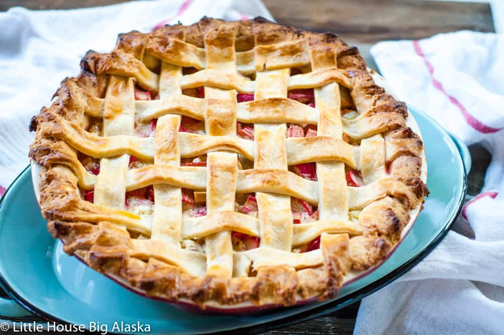 lattice top rhubarb pie