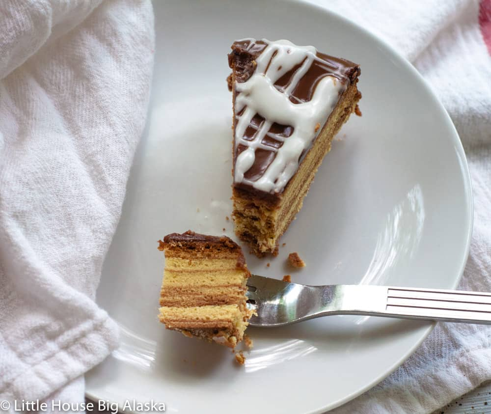 slice of schichttorte and a bite with all the layers