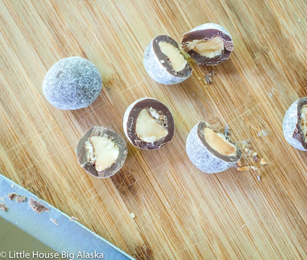 the inside of a chocolate toffee macadamias from Sconza
