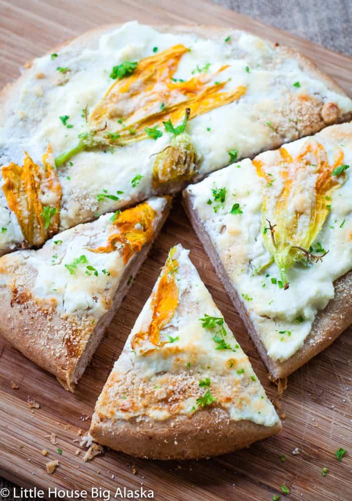 fresh made squash flower flat bread