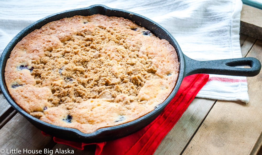 coffee cake in a skillet