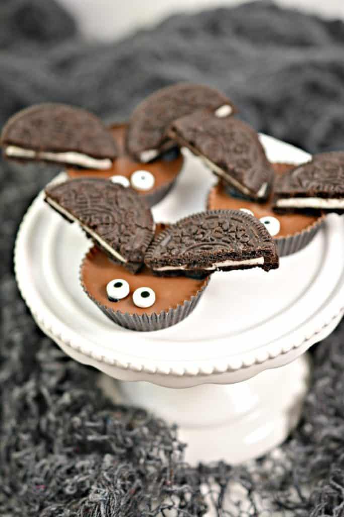 bat treats on a cake plate