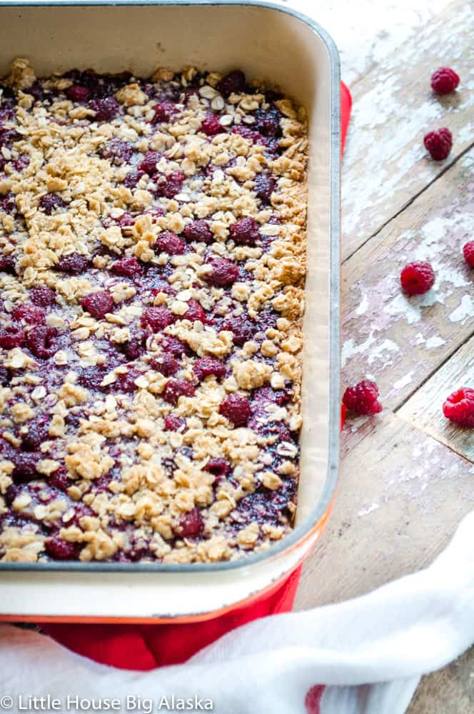 a pan of fresh baked raspberry bars