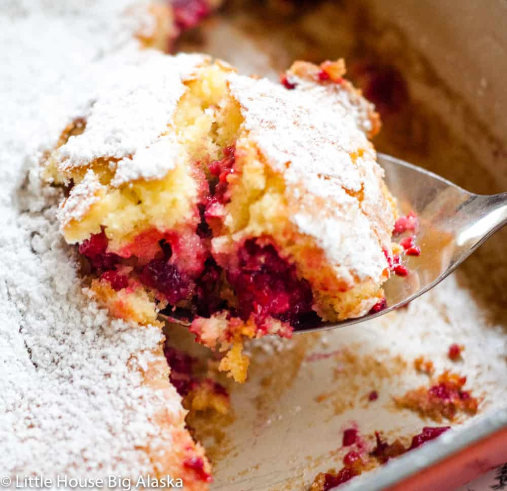 close up of a raspberry buckle