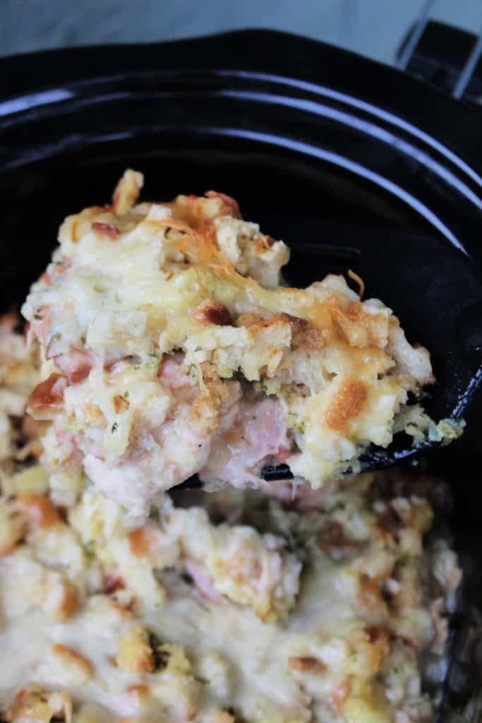 serving up the crockpot chicken cordon bleu