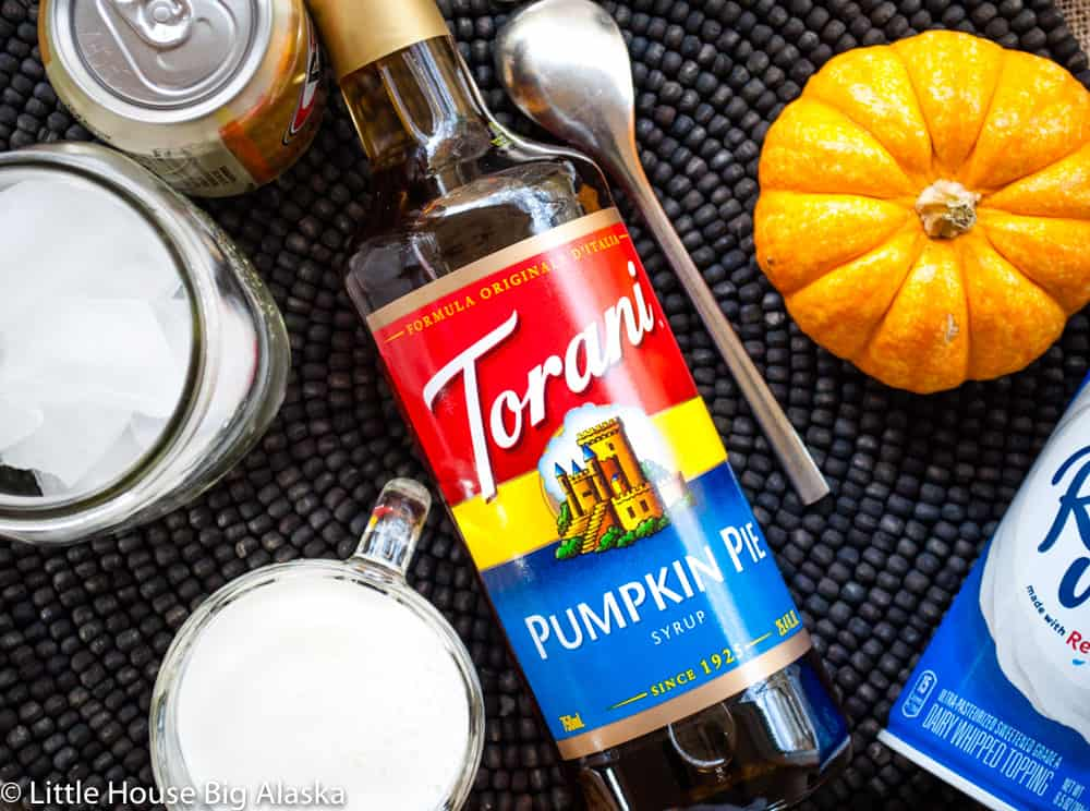 everything you need for a Pumpkin Pie Italian Soda