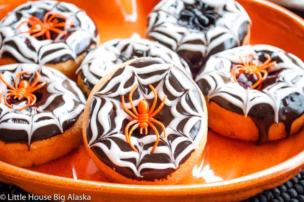 Spider Web Halloween Doughnuts