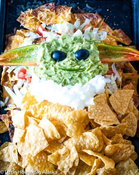Full pan of Baby Yoda (the child) nachos
