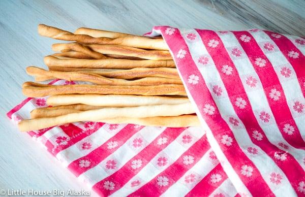 fresh rustic crispy grissini breadsticks