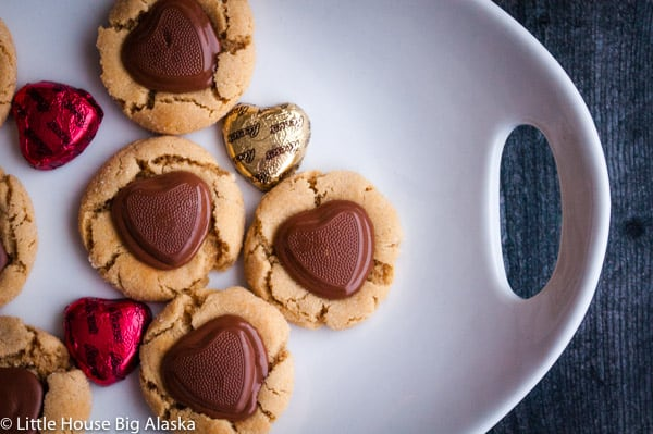 peanut butter cup cookies with hearts!