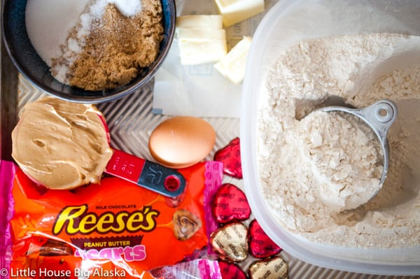 ingredients for reese's peanut butter cups cookies with hearts for valentines day