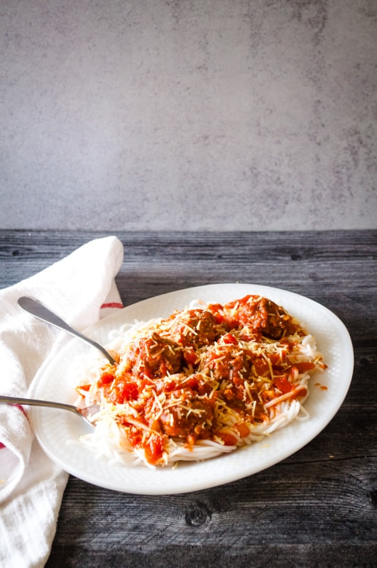 Baked Turkey Meatballs make spaghetti dinner easy and tasty!