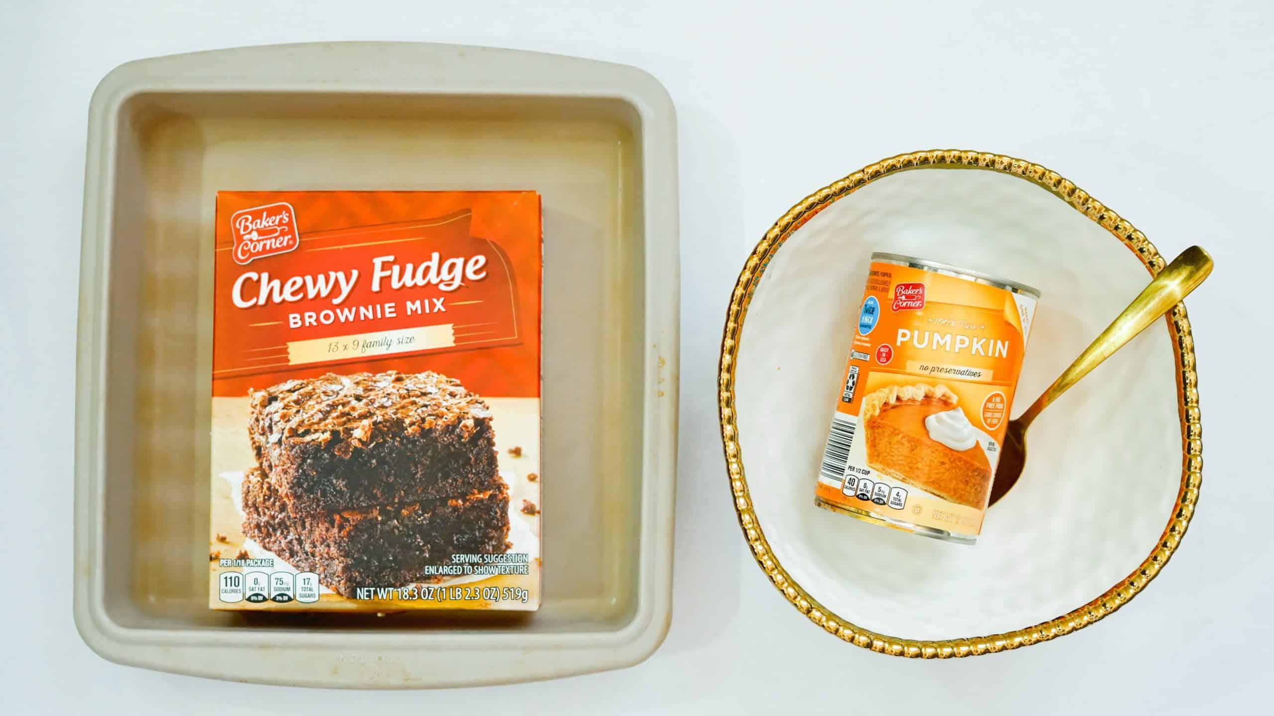 Ingredients for easy low-fat pumpkin brownies.