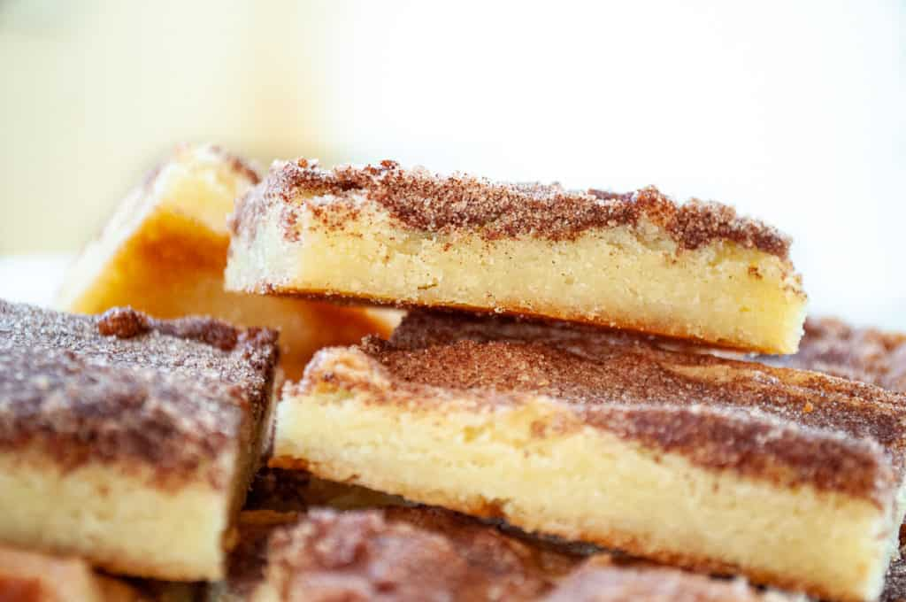 Close up of a stack of snickerdoodle bars.