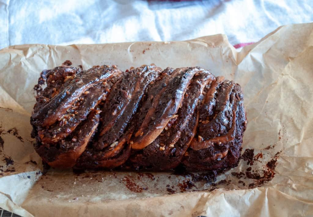 a finished loaf of chocolate babka.