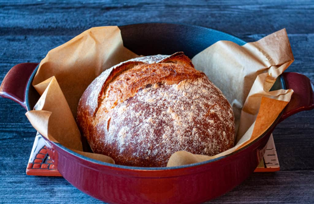 A crusty loaf of Dutch Oven Bread.