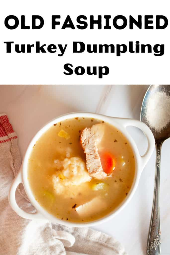 Pin for Old Fashioned Turkey Dumpling Soup.