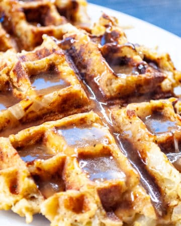 Savory Stuffing Waffles made from leftover stuffing!