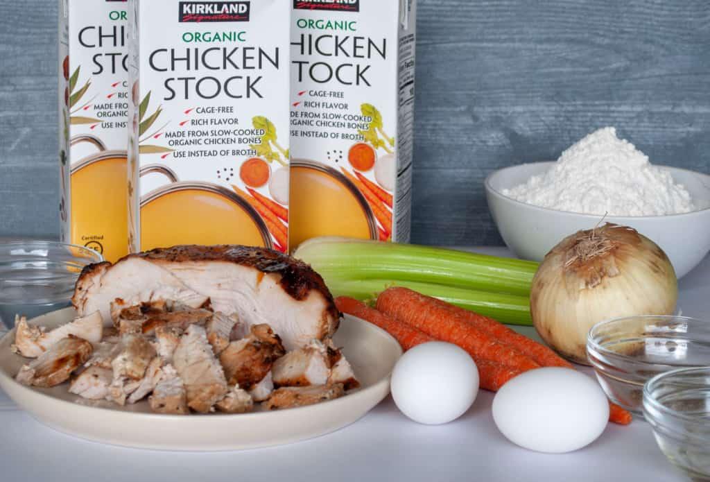 Ingredients for Turkey noodle soup.