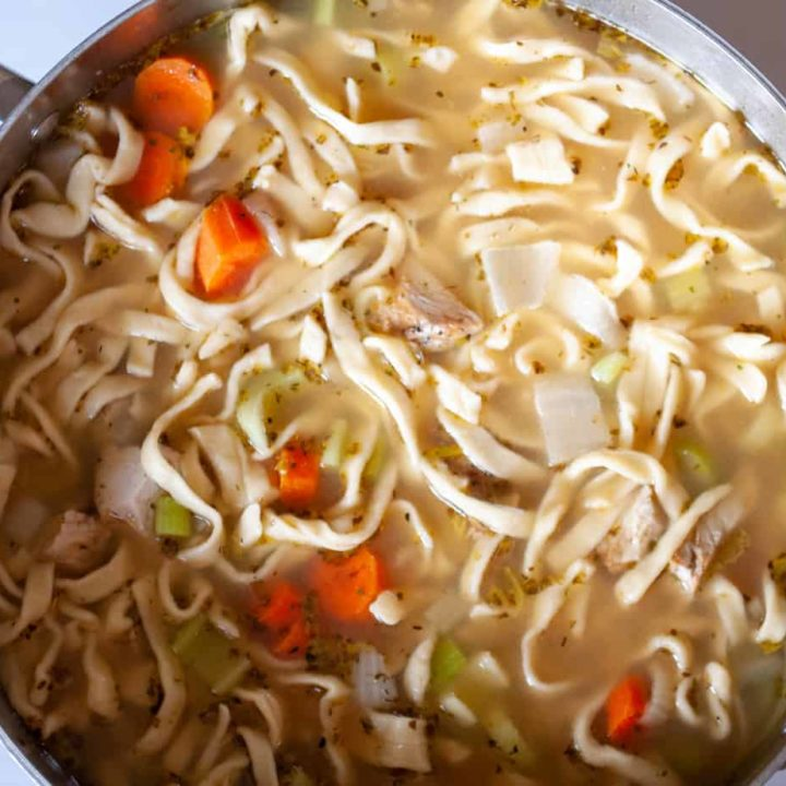 Turkey noodle soup with homemade noodles.