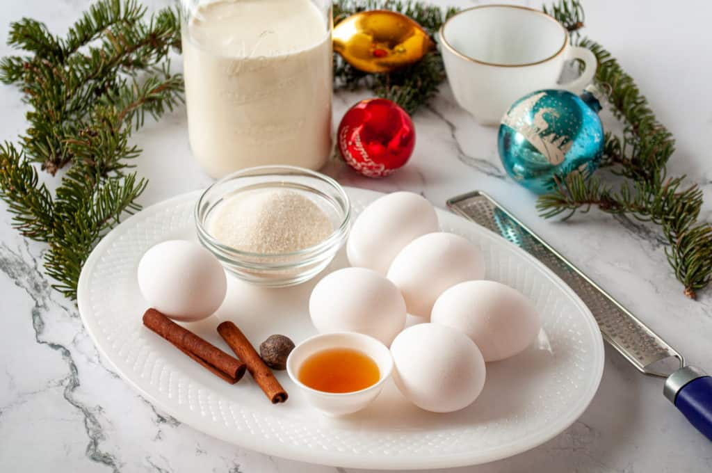 Ingredients for fresh homemade eggnog recipe.